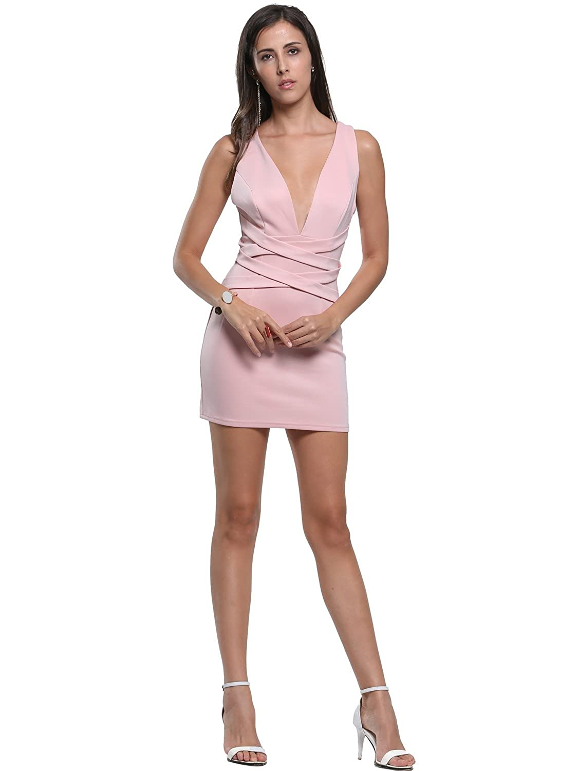 Persun Women's Pink Plunge Cross Strap Bodycon Party Formal Banquet Dress