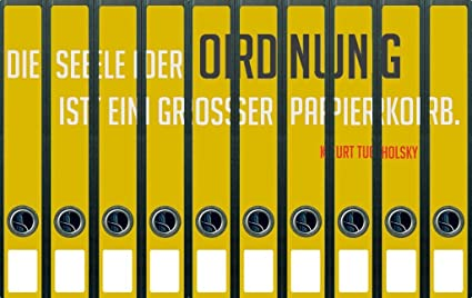Archivadores de diseño divertido con texto en orden y de zona de fondo amarillo - tamaño