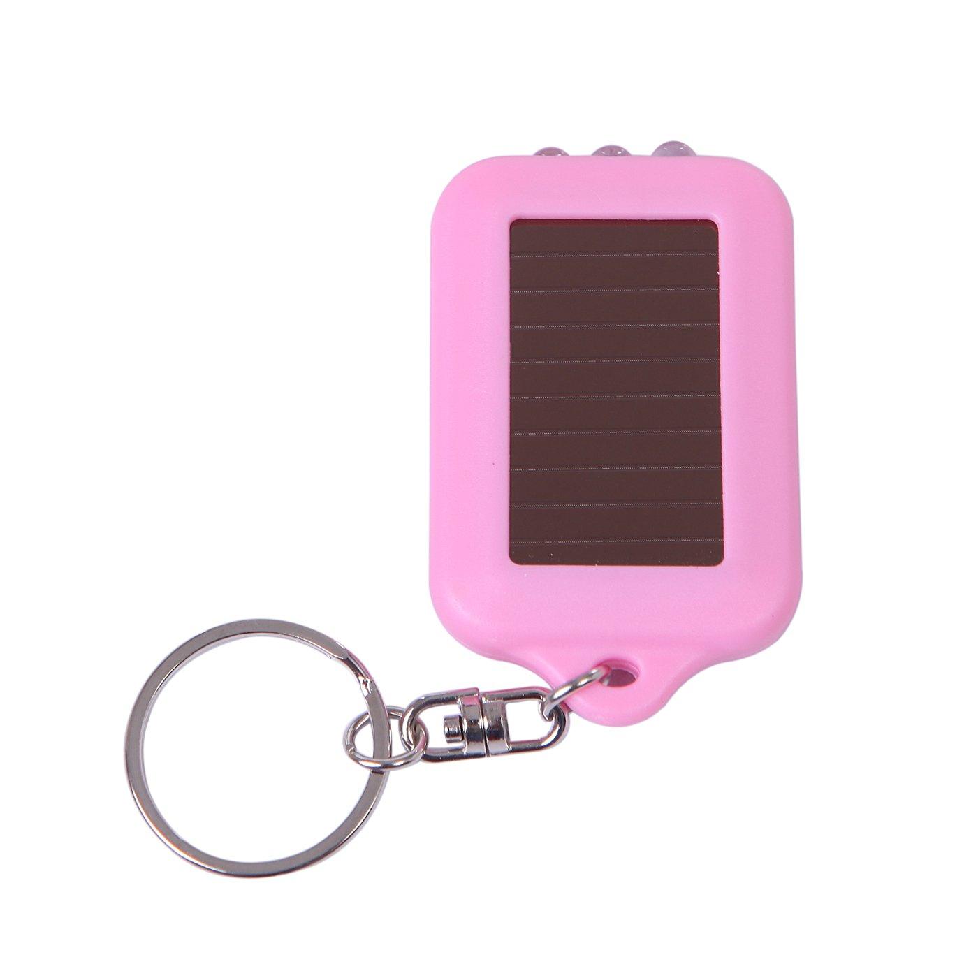 HDE 5x Emergency 3 LED Torch Flashlight Key Fob Solar Energy Power Keychain Lamp Light Black
