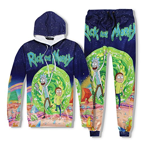 Unisex+Rick+and+Morty+3D+Printed+Drawstring+Pockets+Hoodie+Sweatshirts+With+Pants