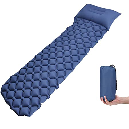 AOCKS Camping Sleeping Pad – Mat Hiking Air Mattress Lightweight, Inflatable Compact, Camp Sleep Pad with Pillow for Backpacking Traveling