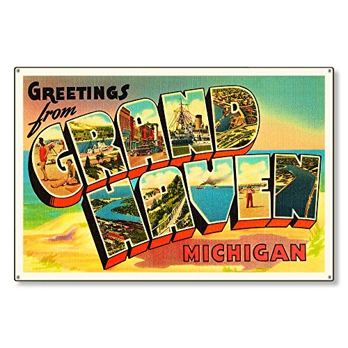 Grand Haven Michigan mi Old Retro Vintage Large Letter Travel Postcard Reproduction Metal Sign Art Wall Decor Steel 8x12 inch ()