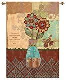 Manual Bohemian Flowers and Vase Tapestry Jacquard wall hanging with Rod By Wendy Bentley HWFLVS 26×36″
