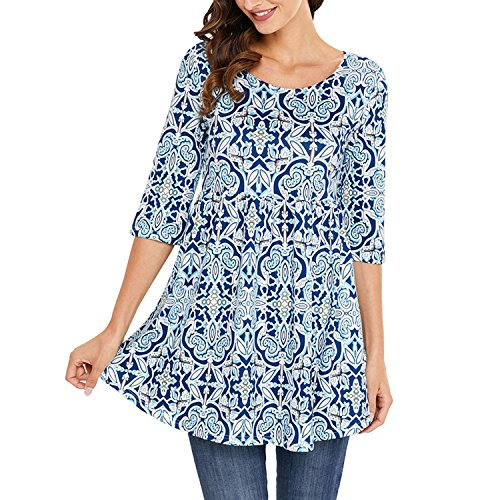 Grande Longue Floral Shirt Bleu Chemise Slim Casual T Manche Shirt Printemps Tops Femme Taille Bohme Lisli Tunique Impression pwx1zn0