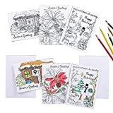 Collections Etc Holiday Cards to Color - Set of 24, White