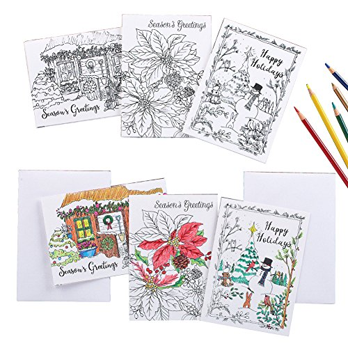 Collections Etc Holiday Cards to Color - Set of 24, White by Collections Etc
