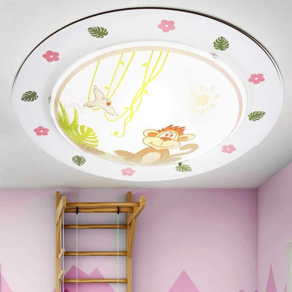 Kinder Decken Stahl Glas Affe Vogel bunt Tiere Zoo Spiel Zimmer Lampe im Set inkl LED Leuchtmittel
