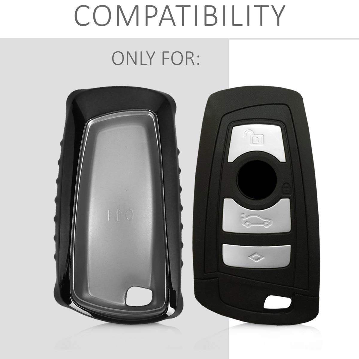 - Silver//Metallic Silver only Keyless Go kwmobile Car Key Cover for BMW Soft TPU Silicone Protective Key Fob Cover for BMW 3 Button Remote Control Car Key