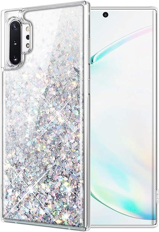 wlooo Coque Samsung Galaxy Note 10 Plus, Samsung Note 10 Plus Glitter Liquide Paillette Protection TPU Bumper Silicone Housse Étincelle Antichoc ...