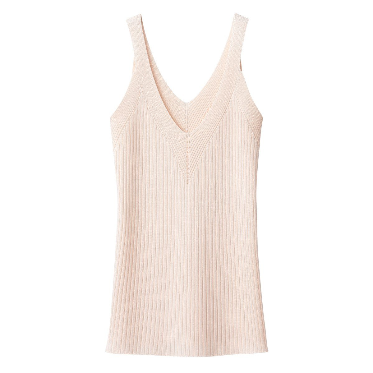 La Redoute Collections Womens Ribbed Knit Vest Top With Shoestring Straps
