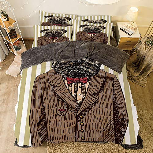 Flannel 4 Piece Cotton Queen Size Bed Sheet Set for bed width 6.6ft Winter Holiday Pattern by,Pug,Hand Drawn Sketch of Smart Dressed Dog Jacket Shirt Bow Suit Striped Background Decorative,Brown Pal