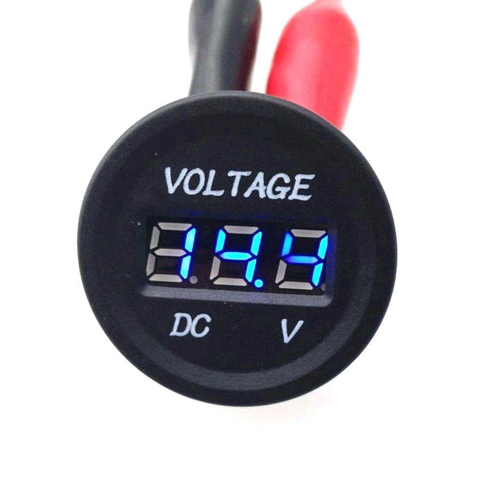 IZTOR WATERPROOF Voltmeter 12-24V DC red LED Digital Display voltage meter socket Universal for Automobiles Motorcycle Truck Boat Marine