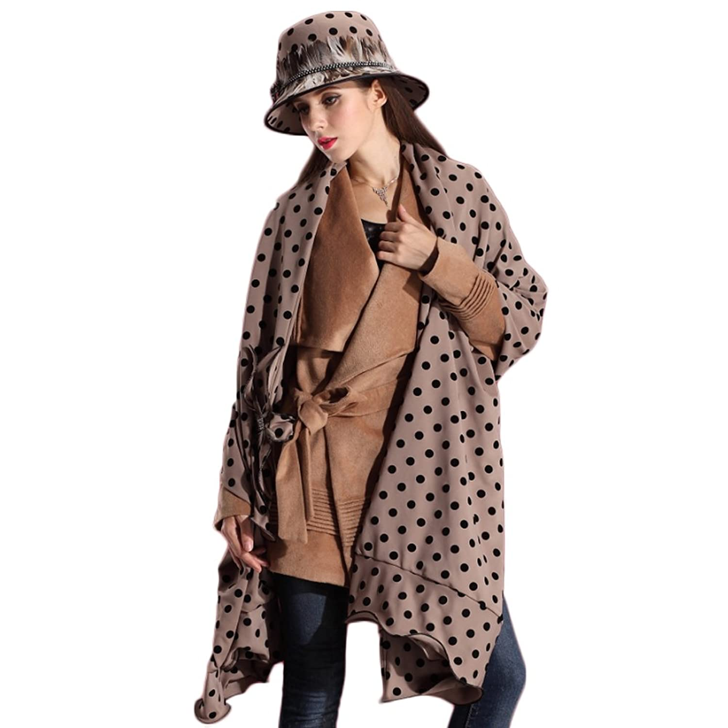 June's Young Damen-Hüte Samthut Winter Herbst Cape Kopfschmuck Top hat Polka Dot cooler Hut