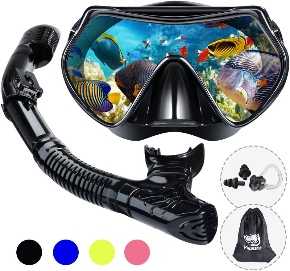 Villsure Dry Snorkel Set,Anti Leak Snorkel Mask Snorkeling Gear with Panoramic Wide View and Anti-Fog Tempered Glass,Easy Breathing and Professional Scuba Diving Mask for Adult,Women and Men …