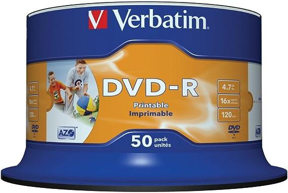 Verbatim DVD-R 4.7GB 16X GENERAL WIDE SUPLPHOTOPRINTABLE 50-SPINDLE: Verbatim: Amazon.es: Informática