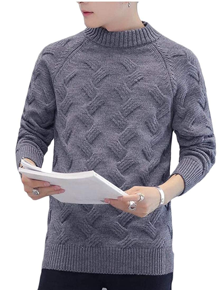 desolateness Mens Long Sleeve Knit Mock Turtle Neck Pullover Pure Colour Sweaters