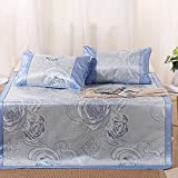 Summer sleeping mat Cool Mattress Ice Silk Mat 3-piece Foldable Air-conditioned Mat Student Dormitory Smooth Mat 0.9m 1.2m 1.5m (Size : 1.2m (4 ft) bed)