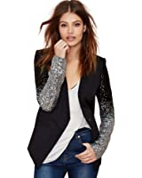 Deargles Womens Blazer Jacket Sequins Patchwork Black