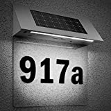 Solar LED stainless steel house number with 4 strong LEDs, outdoor wall light, multicolour