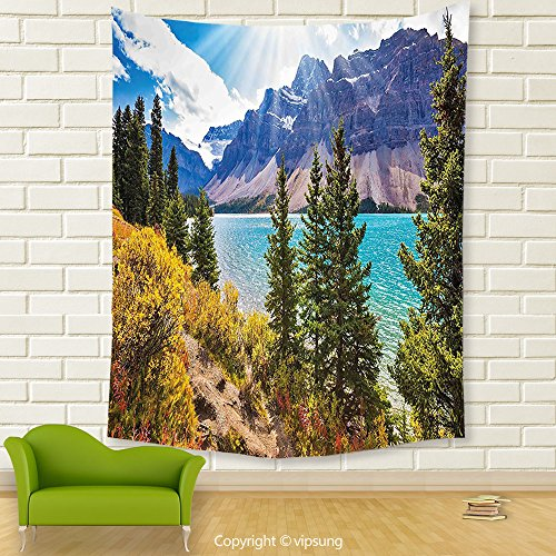 Vipsung House Decor Tapestry_Landscape National Park Banff Canadian Rockies Mountain Trees Glacial Lake Sunny Sky Aqua Mauve Green_Wall Hanging For Bedroom Living Room Dorm