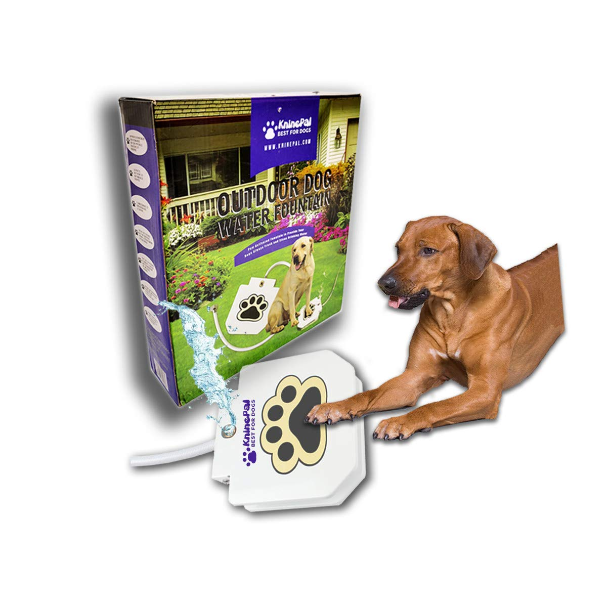 KninePal Outdoor Dog Fountain Step On, Paw Activated Dog Sprinkler Toy, Copper Valve, Anti-Rust Steel Pedals, Leakage Free, for Small/Medium/Large Dogs, Bonus Connectors and Y Splitter Included
