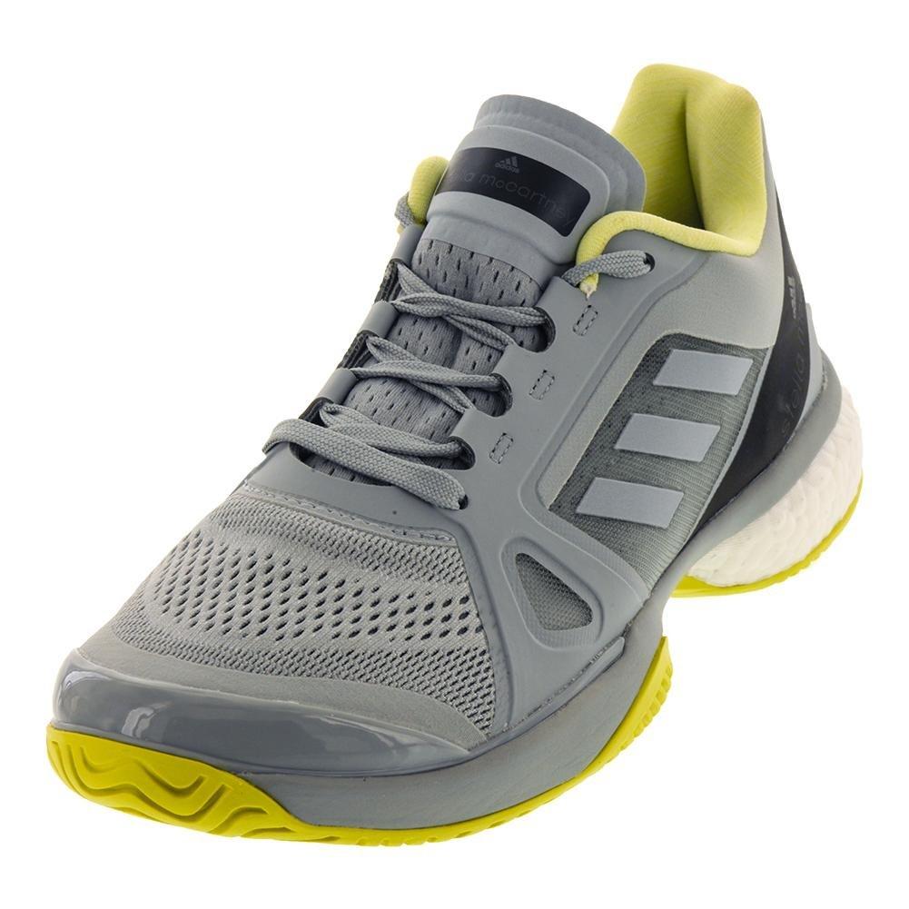 Adidas Women's Stella McCartney Barricade Boost 2018 Tennis Shoe (7, Eggshell Grey/Aero Lime/Core Black)