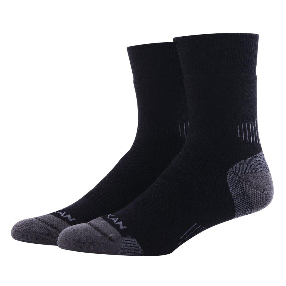 ハイキング/トレッキングソックス、meikanユニセックスメリノウールクッションクルーソックス1、3、4、6ペア B071V664RK 1 Pair-black 1 Pair-black