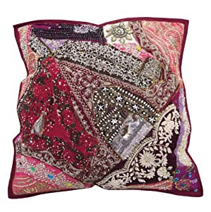 Embroidered Cushion Cover 50 X 50cm Patchwork Pillow Case White Couch Throw Indian Gift Art 20 Inches