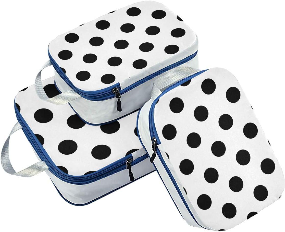 Polka Dot Black White 3 Set Packing Cubes,2 Various Sizes Travel Luggage Packing Organizers n