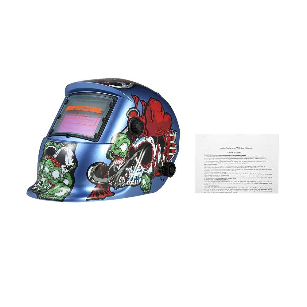 Walmeck Industrial Welding Helmet Solar Power Auto Darkening Welding Helmet TIG MIG Cartoon Zombie Design by Walmeck (Image #6)