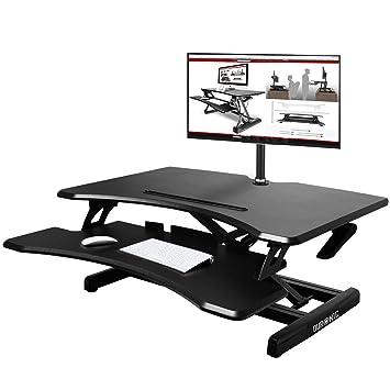 Duronic DM05D16 - Soporte de mesa para ordenador (altura ajustable, monitor y elevador de teclado, compatible con brazo de monitor)