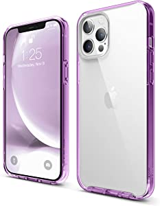 elago Hybrid Clear Case Compatible with iPhone 12 Pro Max 6.7 Inch (Lavender) - Shockproof Bumper Cover Protective Case