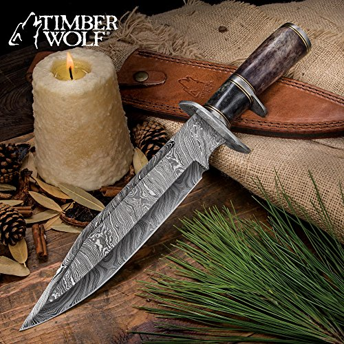 (Timber Wolf Prairie Moon Damascus Bowie Knife with Genuine Leather)