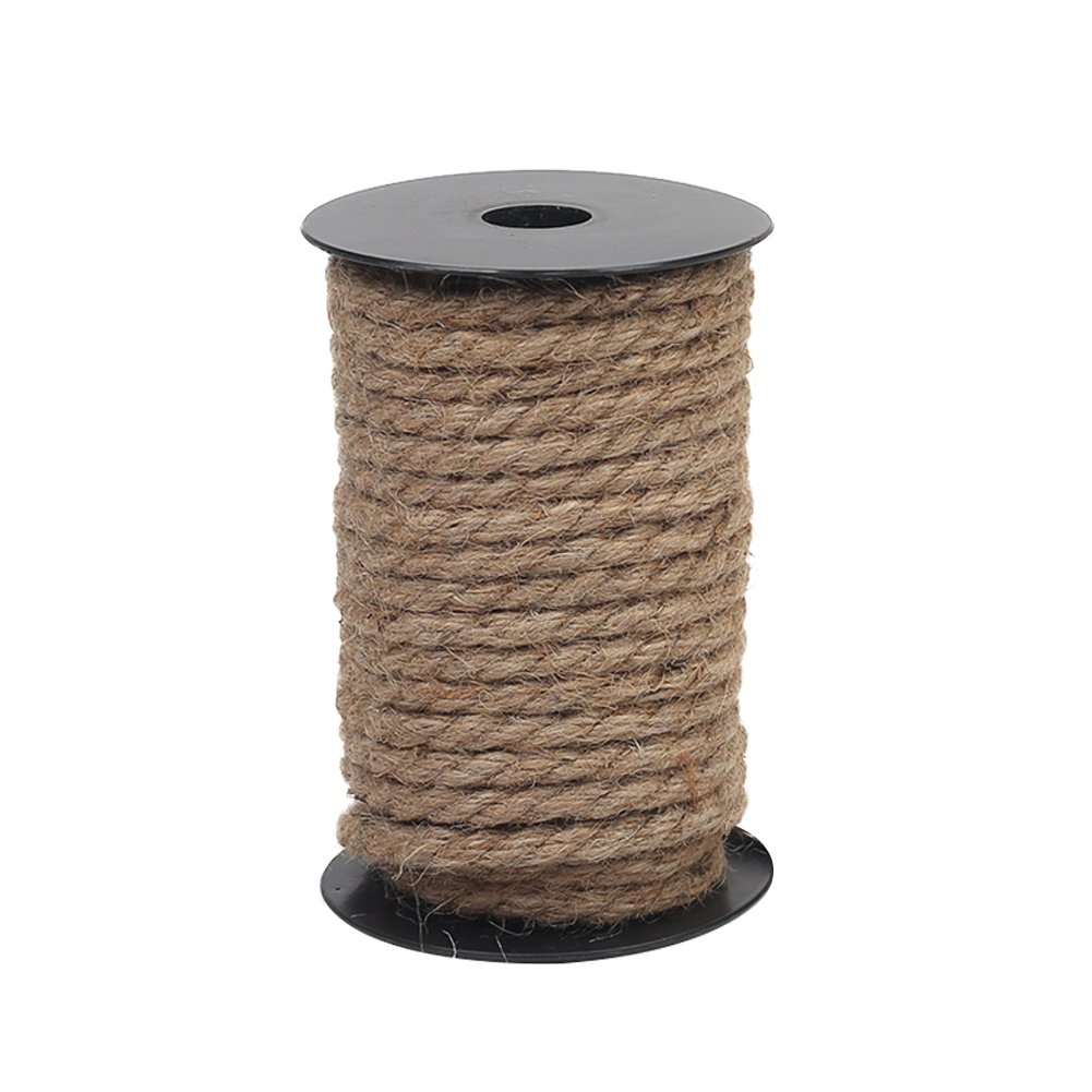 Vivifying 50 Feet 8mm Jute Rope, Natural Heavy Duty Twine for Crafts, Cat Scratch Post, Bundling (Brown)