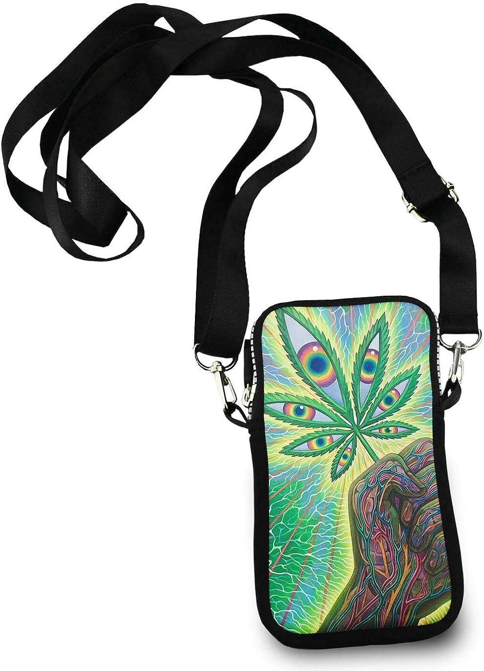 Unisex Small Crossbody Bag Cell Phone Purse Wallet Headphone Bag eyes marijuana weed