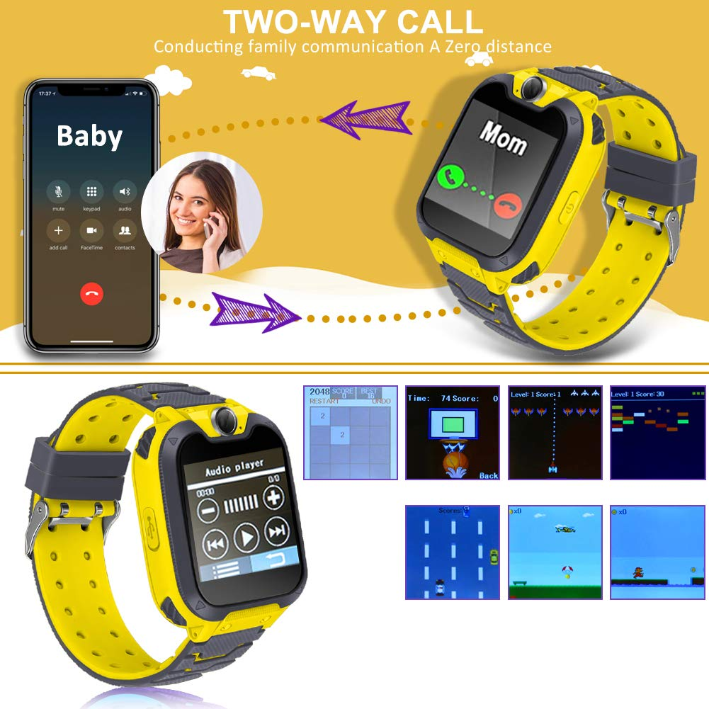 Smart Phone Watches For Kids Game Watch With Camera Touch Screen Digital Wrist Phone Watch Music Player For 3-12 Year Old Boys Girls Ipx5 Waterproof Electronic Educational Learning Toys (Yellow) by LJRYCQSSZSF (Image #3)