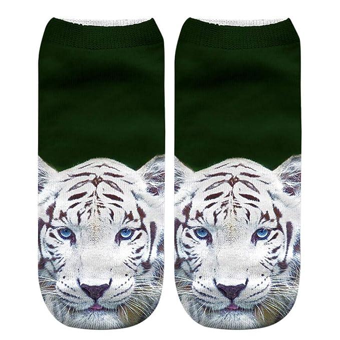 Rawdah_Calcetines Mujer Invierno Divertidos Termicos Algodon Casual Animal Gigante Panda Tiger 3D Cute Print Medio Deportes Calcetines Mujer Unisex: ...