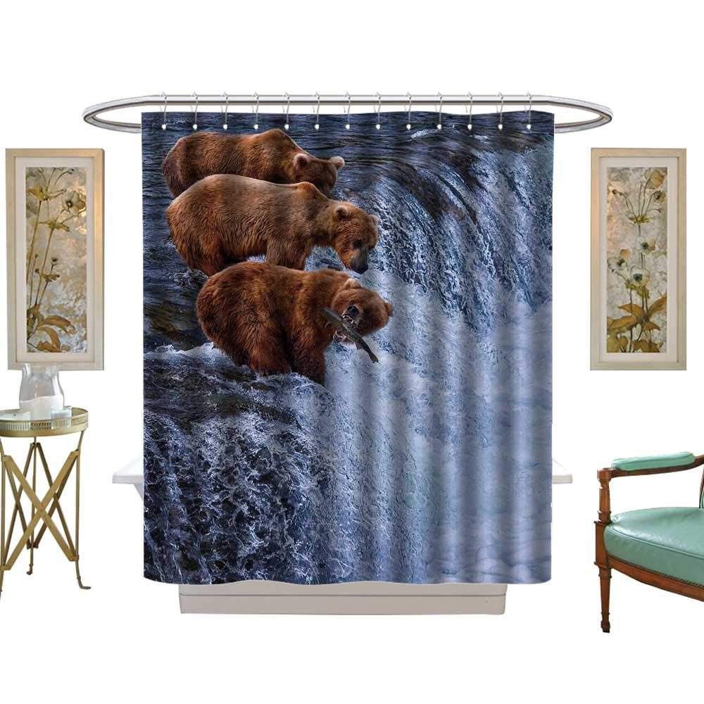 luvoluxhome Shower Curtains Sets Bathroom Grizly Bears at Katmai National Park Alaska W69 x L75 Fabric Bathroom Decor Set with Hooks by luvoluxhome