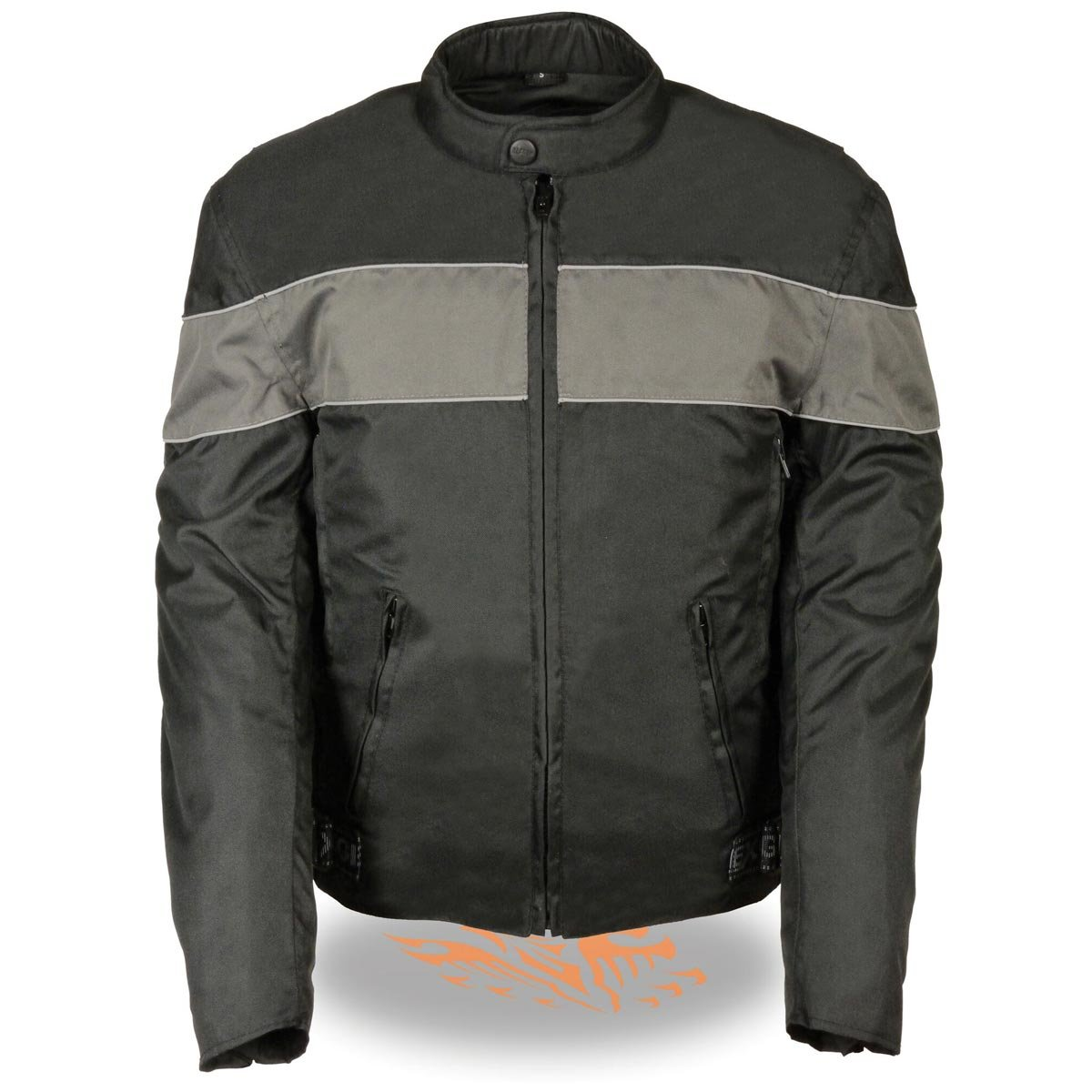 Milwaukee Leather Mens Black Textile Scooter Jacket with Grey Reflective Stripi - X-Large