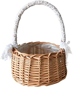 YLSZHY Flower Girl Basket Wicker, Wicker Rattan Flower Basket with Handles and Plastic Liners Storage Basket for Camping, Wedding, Home, Garden Decor