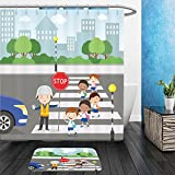 Vanfan Bathroom 2Suits 1 Shower Curtains & 1 Floor Mats traffic guard helping school kids crossing road by holding a stop sign 491458288 From Bath room