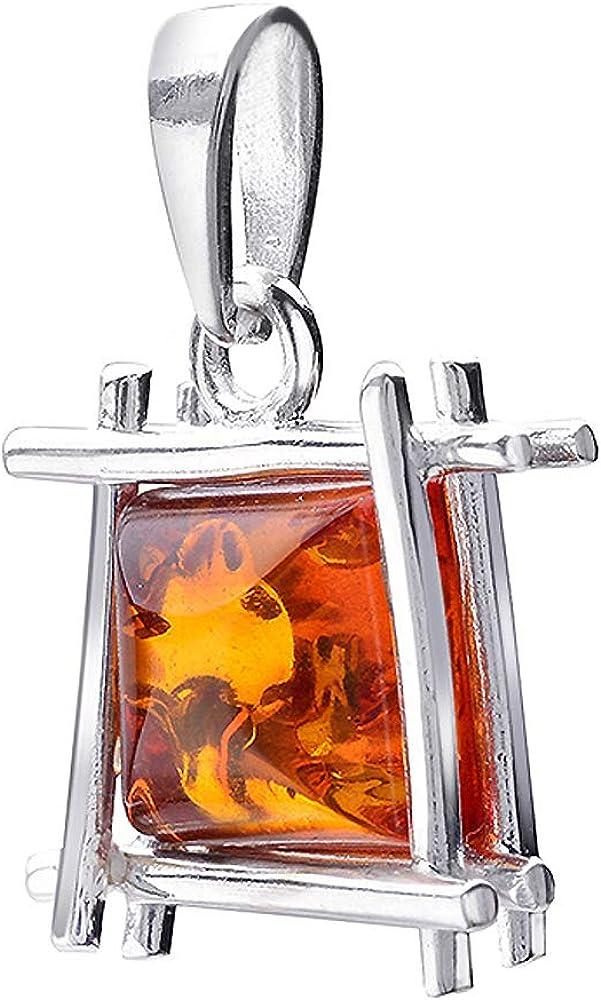 MATERIA KA-50 - Colgante de ámbar para mujer, plata de ley 925, color naranja y marrón, rodiado, con caja de regalo, sin cadena
