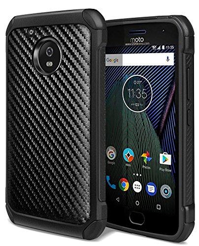 Moto E4 Case, Moto G5 Case, WORLDMOM Carbon Fiber Shock Absorption Hybrid Heavy Duty Protective Case for Motorola MOTO E 4th Gen/Moto G5 2017 (5th Generation), Black