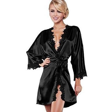 b0bc78138cba1f Damen Morgenmantel kurz, Sondereu kimono damen mit spitze V-Ausschnitt  Nachtwäsche Satin Bademantel Schlafanzug