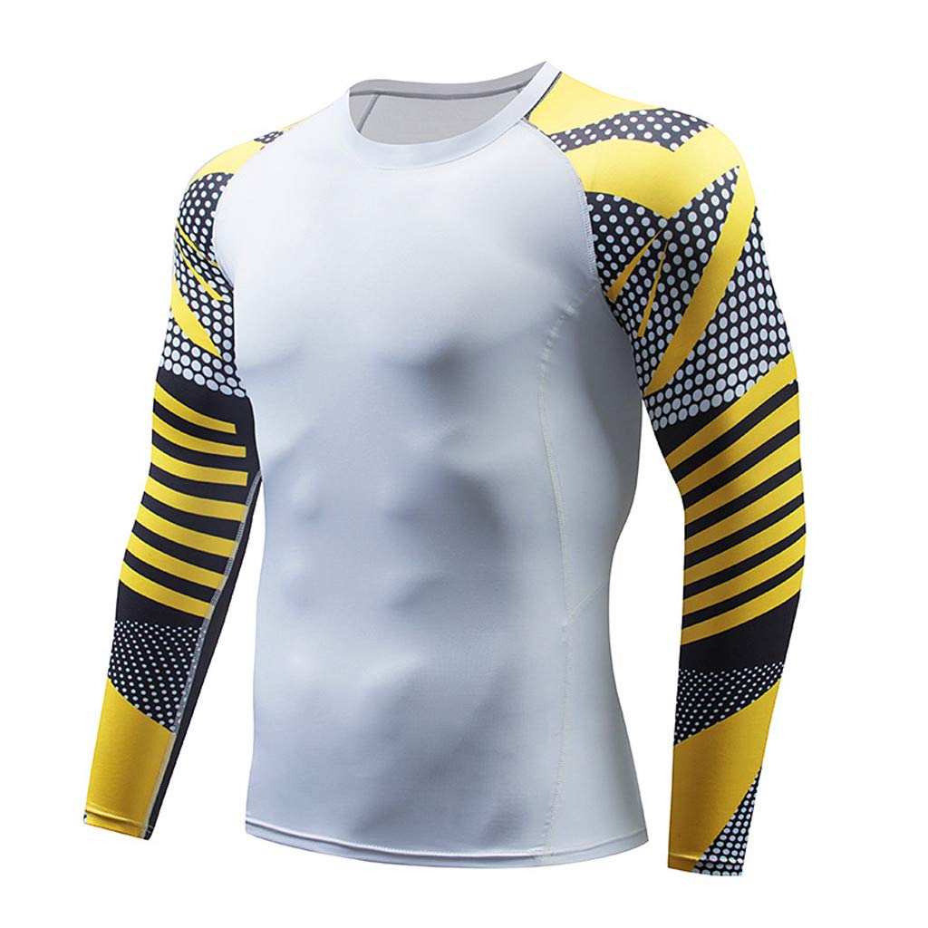 FD-FLY88 Mens Print Long Sleeve Fitness Sweat-Absorbent Breathable Sports Tight Suit T-Shirt
