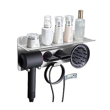 Marco de secador de pelo Secador de pelo de acero inoxidable Soporte de tubo de punzonado gratuito Accesorios de baño Adecuado para peluquería Hotel ...
