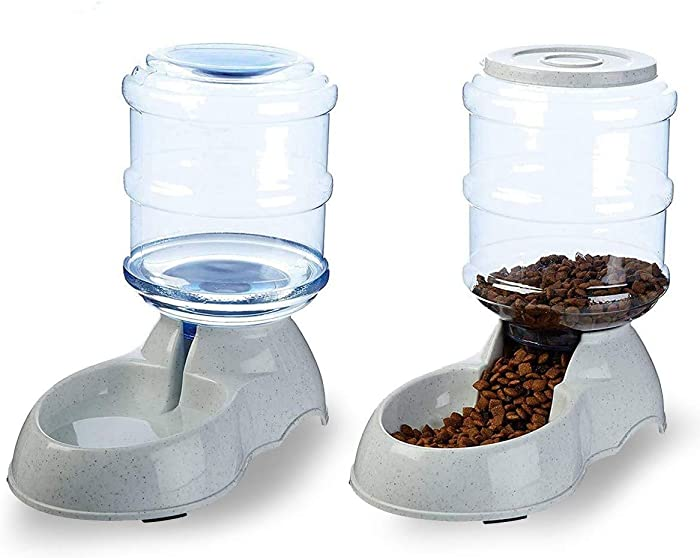 VaygWay Pet Feeder and Waterer – Self Dispensing Gravity Automatic Feeder - Food and Water Dispenser Set – Dog Cat Pet Food Bowl – 1 Gallon Feeder and 3.7 Waterer