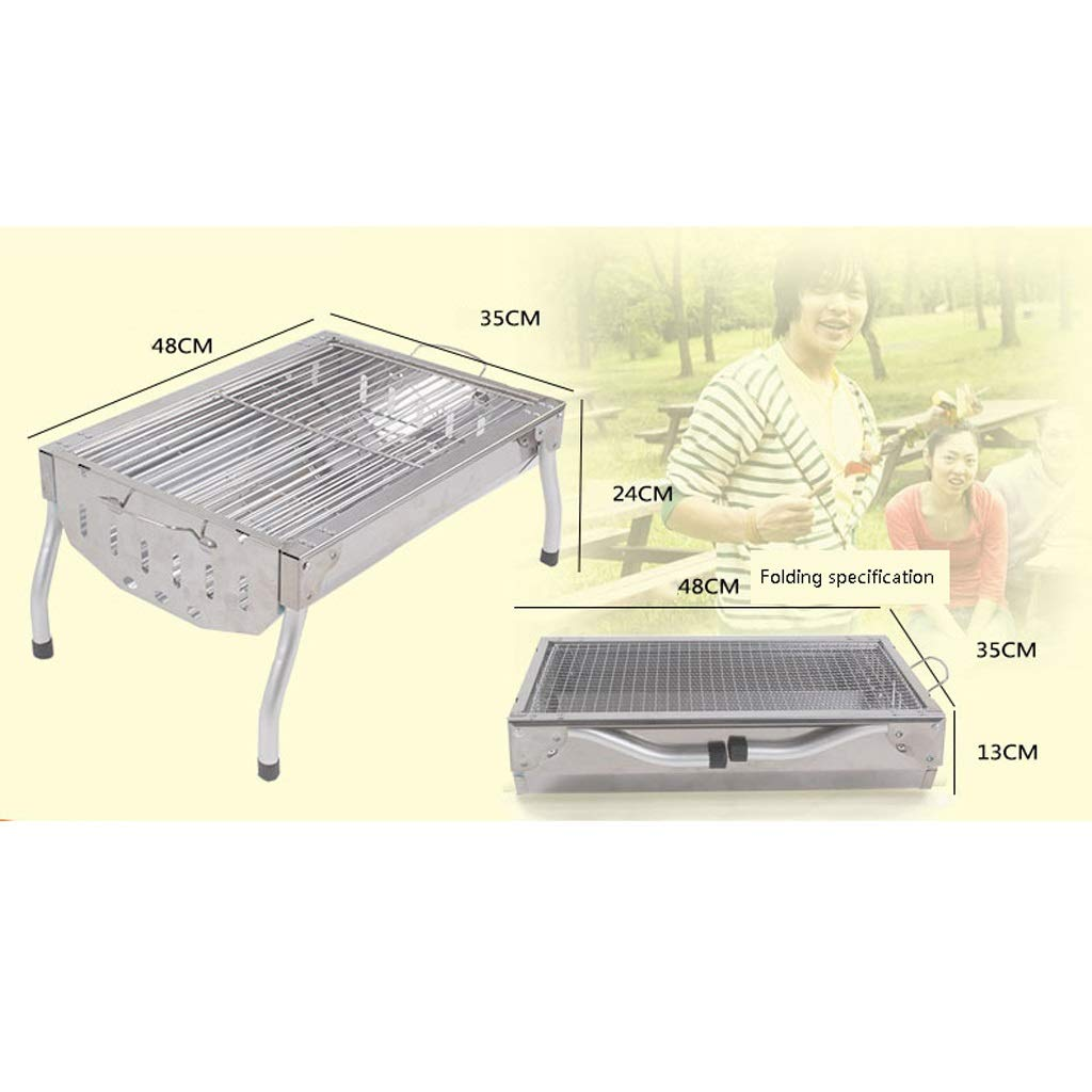 MEI XU Barbecue Grill BBQ Grill - Small Short Foot Stainless Steel Barbecue Charcoal Oven Portable Folding Grill Outdoor Camping Home by MEI XU (Image #2)