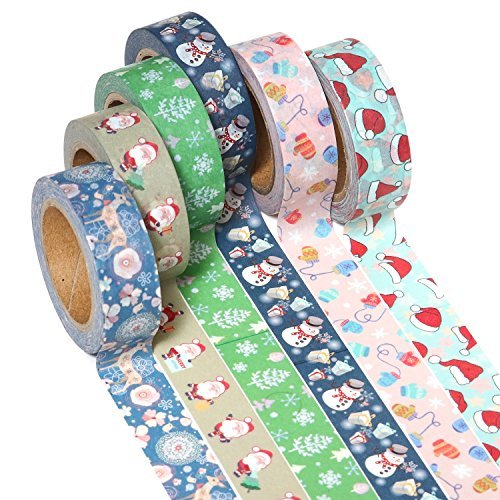 ARTIT Washi Tape Christmas Edition Set 6 Extra Long (33 Feet, 0.6 Inch Wide) Decorative Rolls Craft Duct Masking Tapes Collection Scrapbooking Holiday DIY Gift Wrap Patterned Solid Sticky Adhesive