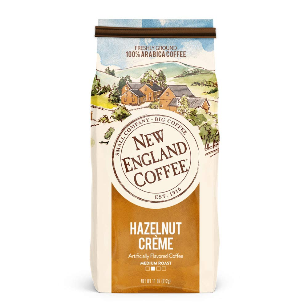 New England Coffee Hazelnut Creme, Medium Roast Ground Coffee, 11 Ounce Bag